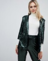 Outrageous Fortune sequin tuxedo blazer Co-ord in emerald green – shimmering going out jacket