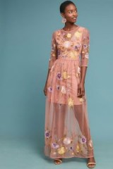 Meadow Rue Palais Maxi Dress in Pink ~ semi sheer floral event wear