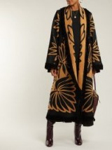 MARIT ILISON Palm-intarsia tasselled black and orange cotton coat ~ statement clothing