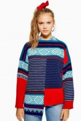 Topshop Patched Fair Isle Jumper – patchwork knitwear