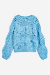 Topshop Petal Hand Knitted Jumper in Blue | chunky knitwear