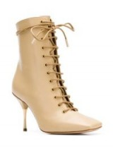 PETAR PETROV lace-up ankle boots in beige / stiletto bootie