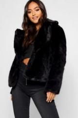 boohoo Petite Luxe Faux Fur Coat in Black