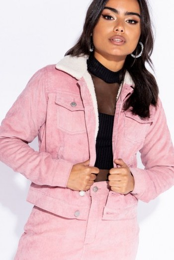 Parisian PINK BABY CORD SHEARLING LINED TRUCKER JACKET ~ my casual style - flipped