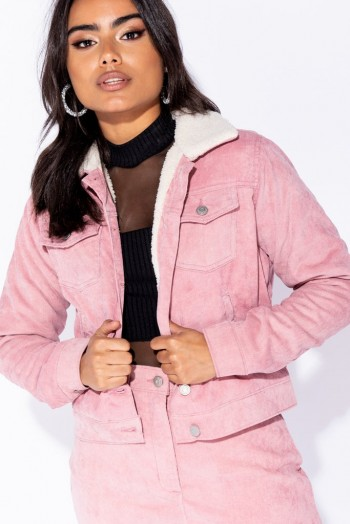 Parisian PINK BABY CORD SHEARLING LINED TRUCKER JACKET ~ my casual style