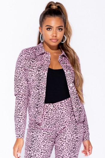 Parisian PINK BLACK LEOPARD PRINT WESTERN DENIM JACKET ~ animal prints
