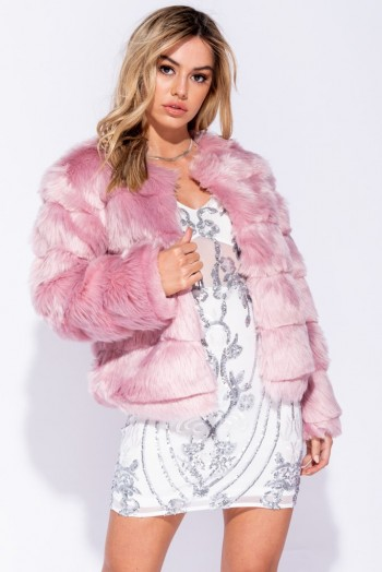 Parisian PINK EDGE TO EDGE COLLARLESS FAUX FUR JACKET