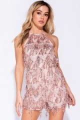 Parisian PINK SEQUIN DROPLET TIE BACK PLAYSUIT