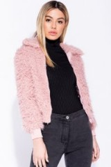 Parisian PINK TEDDY BEAR FUR ZIP FRONT BOMBER JACKET