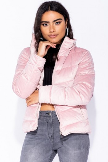 Parisian PINK VELVET QUILTED PUFFA JACKET ~ casual luxe puffer