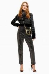 Topshop Pinstud Mom Jeans in Black   shiny denim