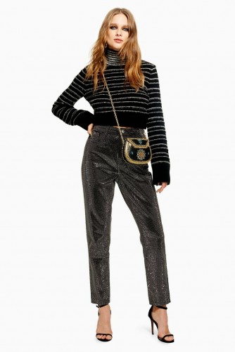 Topshop Pinstud Mom Jeans in Black | shiny denim