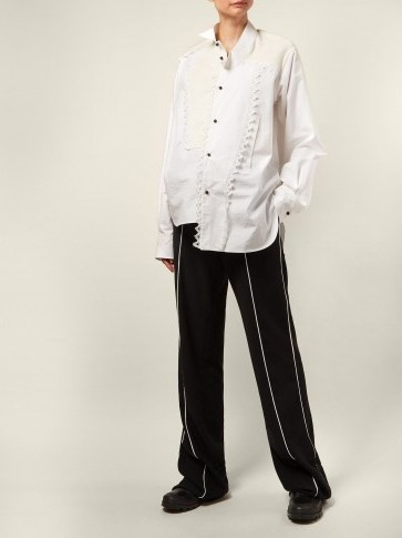 LOEWE Black and White Piped cotton-twill trousers | loose styled pants - flipped