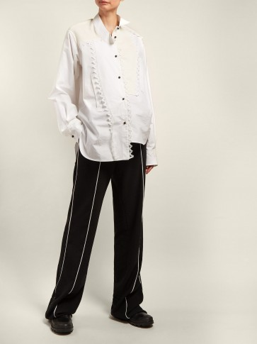LOEWE Black and White Piped cotton-twill trousers | loose styled pants