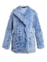 SIES MARJAN Pippa double-breasted blue shearling coat ~ shaggy fur
