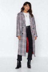 NASTY GAL Plaid Romance Oversized Coat in Grey – checked longline coats