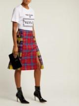 VERSACE Pleated checked tartan skirt / multicoloured checks