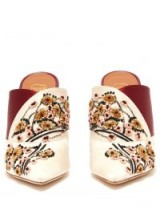 MALONE SOULIERS BY ROY LUWOLT Portia floral embroidered satin mules