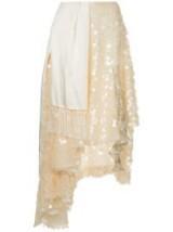 PREEN BY THORNTON BREGAZZI asymmetric embellished skirt in pearl/ivory