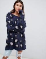 PrettyLittleThing fluffy oversized jumper in leopard | blue animal prints | slouchy knitwear