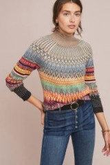 Maeve Prismatic Fair Isle Jumper | high neck multicoloured patterned sweater