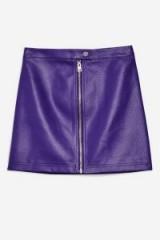TOPSHOP Purple PU Mini Skirt