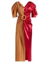 MARNI Puff-sleeve two-tone midi dress / pink shiny fabric