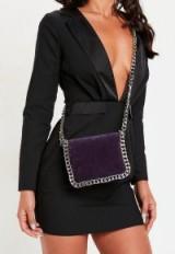 MISSGUIDED purple velvet chain trim cross body bag
