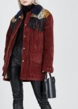 PUSHBUTTON Burgundy fringed corduroy coat | autumn colours