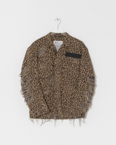 R13 leopard shredded abu jacket ~ distressed animal print jackets