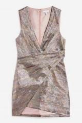 TOPSHOP Rainbow Metallic Wrap Dress – shiny multicoloured mini