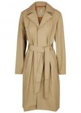 RAINS Overcoat ecru rubberised raincoat ~ neutral tie-waist mac
