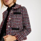 RIVER ISLAND Red check boucle jacket – modern tweed