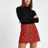 River Island Red zebra print denim mini skirt – A-line