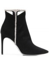 RENÉ CAOVILLA jewel embellished ankle boots in black suede