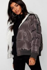 boohoo Reversible Hooded Bomber Jacket in Charcoal