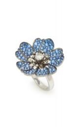 Nam Cho Rhodium-Plated 18K White Gold, Sapphire And Diamond Flower Ring ~ blue stone statement jewellery