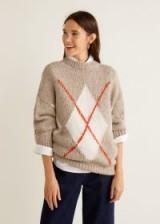MANGO Rhombus design sweater in beige – STEEVE | chunky patterned jumper