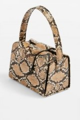 TOPSHOP Rio Snake Print Boxy Grab Bag in Natural – small reptile print handbag