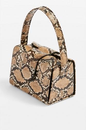 TOPSHOP Rio Snake Print Boxy Grab Bag in Natural – small reptile print handbag