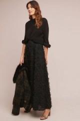 Eri + Ali Rive Droite Maxi Skirt in Black | long textured skirts