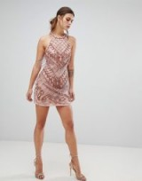 River Island embellished bodycon dress in pink – fringed party dresses