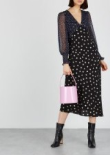 RIXO LONDON Erin star-print silk midi dress ~ sheer sleeves