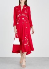 RIXO LONDON Margo red star-embroidered midi dress ~ celestial party dresses