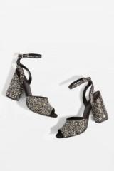 TOPSHOP ROCKY Glitter Block Heel Sandals – glittering party shies