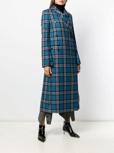 ROKH blue tartan print coat