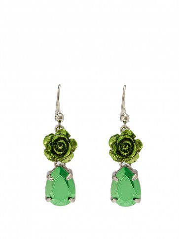PRADA Green rose drop earrings