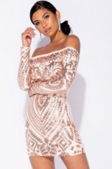 PARISIAN ROSE SEQUIN LONG SLEEVE BARDOT BODYCON DRESS | sequinned off shoulder party frock