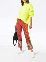 RUDI GERNREICH Nothing Changes Cropped Flare Trousers / sequin & beaded slogan pants / retro fashion