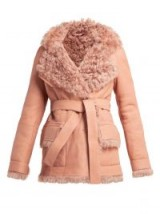 SIES MARJAN Rudy pink belted shearling coat ~ winter luxe